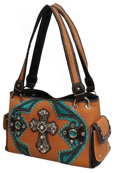 Tan PU handbag with large engraved cross.