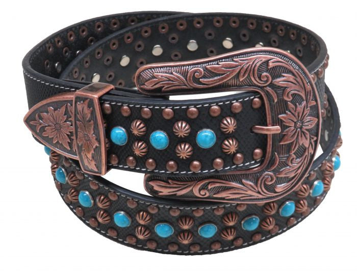 Showman Couture ™  Western style bling belt with removable engraved copper buckle.