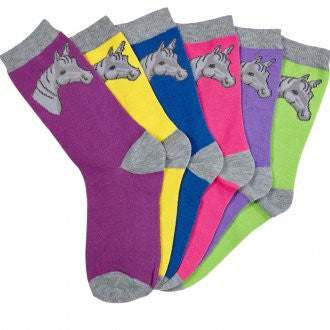 Horse Head Ladies Socks 6 pack assorted Colors