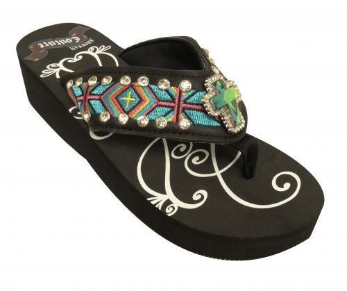 Showman Couture ™ Ladies western flip flops with Southwest embroidery with iridescent crystal rhinstone cross concho.
