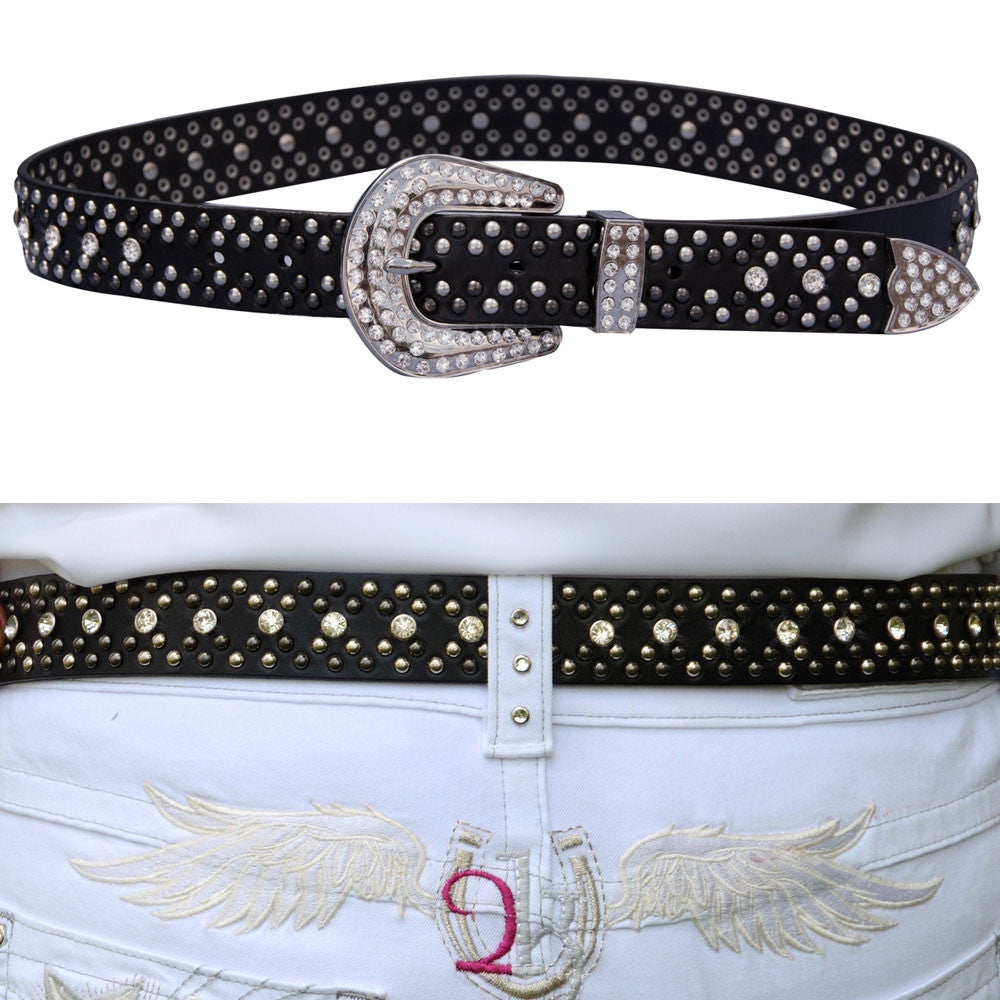 2KGrey Ladies Leather Belt with Studs and Crystals