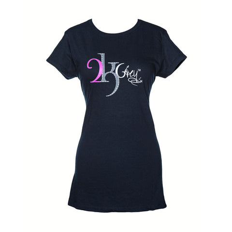2kGrey Ladies Logo Tee Shirt Navy