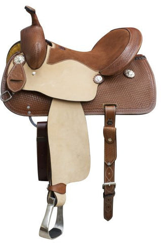"14"", 15"", 16"" Double T  Argentina cow leather barrel style saddle with basket weave tooling."