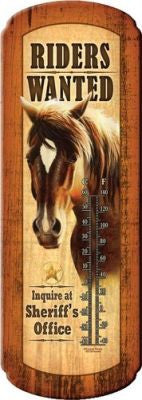 """Riders Wanted"" Tin thermometer"