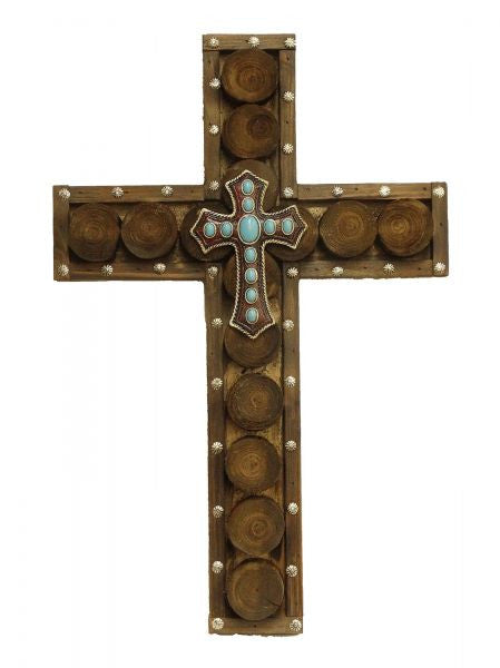 "Montana West ® 20"" x 13"" Wood cross with turquoise stones in center"
