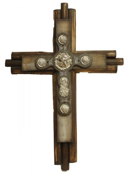 "Montana West ® 26"" x 19"" wood cross with engraved silver accented conchos"