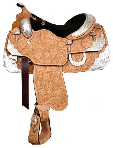 "16"", 17"" Showman™ floral tooled silver show saddle."