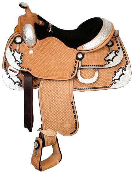 "16"" Showman™ basketweave tooled show saddle with black inlay."