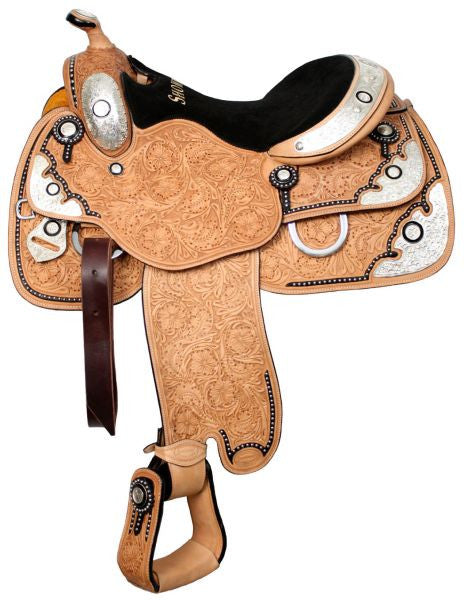 "16"" Showman™ floral tooled show saddle with black inlay."