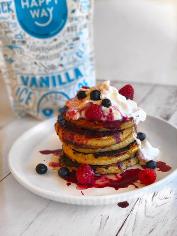 banana protein pancakes with vanilla ice baby whey protein powder