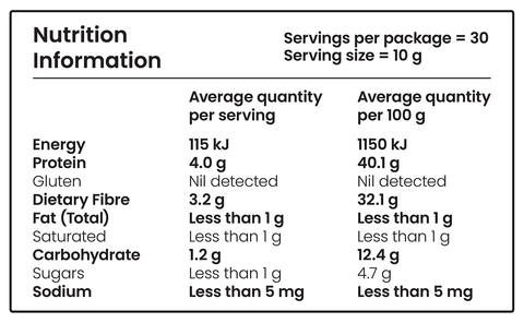 nutritional information for mango pre-workout powder