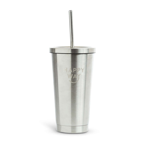 Insulated Stainless Steel Tumbler With Straw (500ml),Steel Tumbler,Merchandise,Happy Way