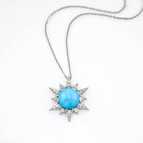 anzie turq star is a turquoise pendant set with a round turquoise, in sterling silver with white sapphire gemstones.