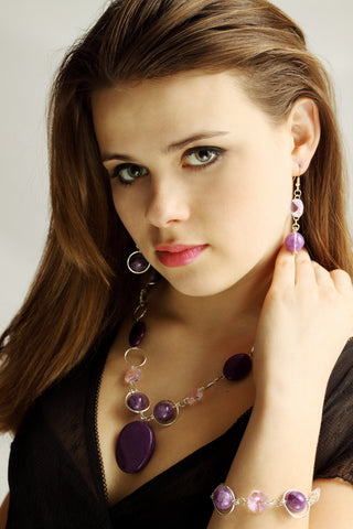 birthstone amethyst necklace earrings bracelet jewelry