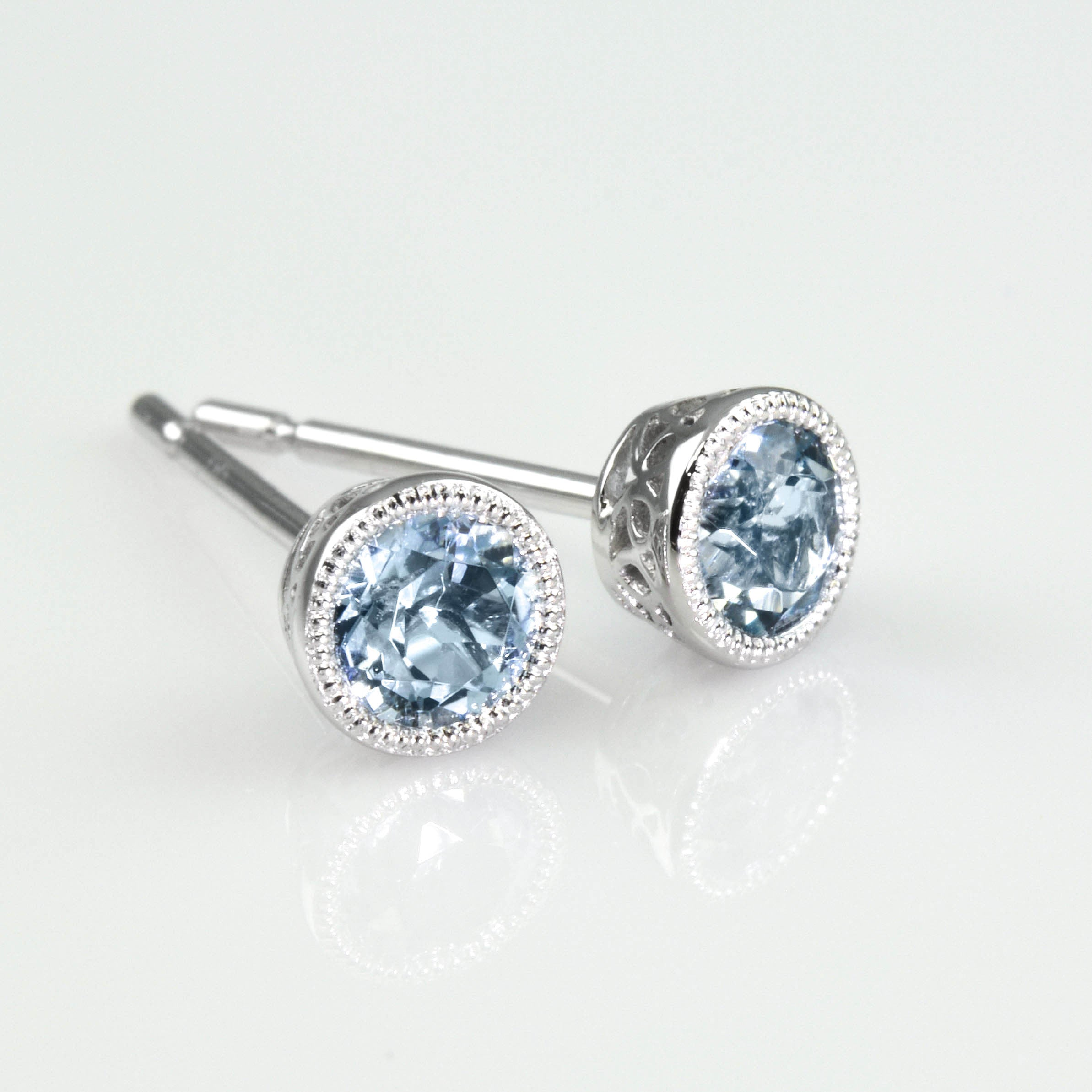 with white earrings aqua diamonds gold stud in aquamarine marine