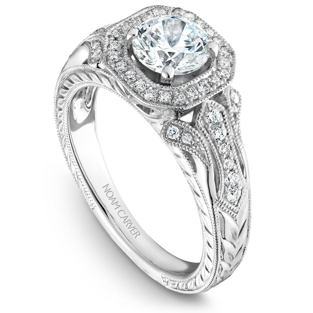 wedding rings pictures noam carver vintage halo engagement ring b079 01wm 1055