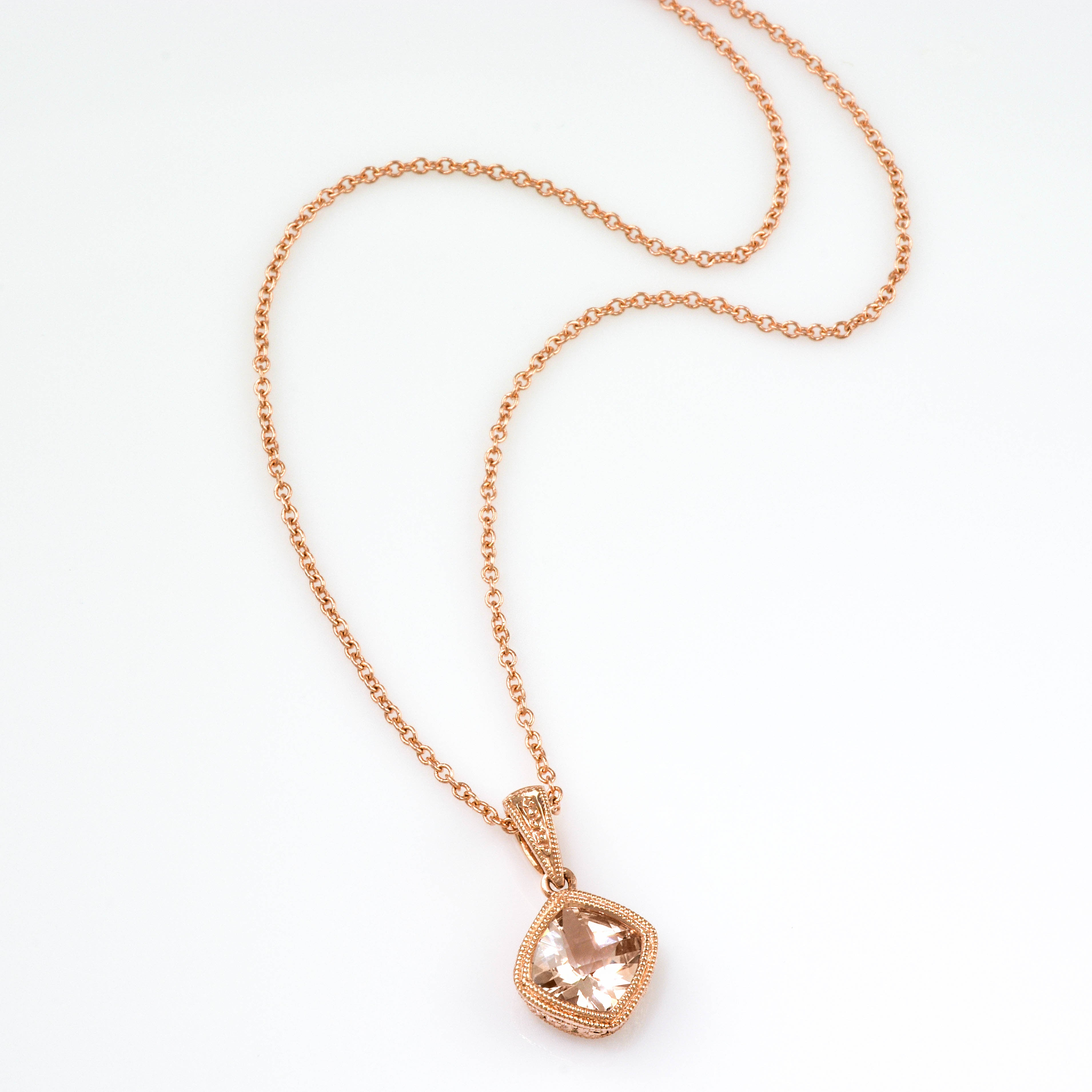 with necklace tw pendant gold rose diamonds morganite in
