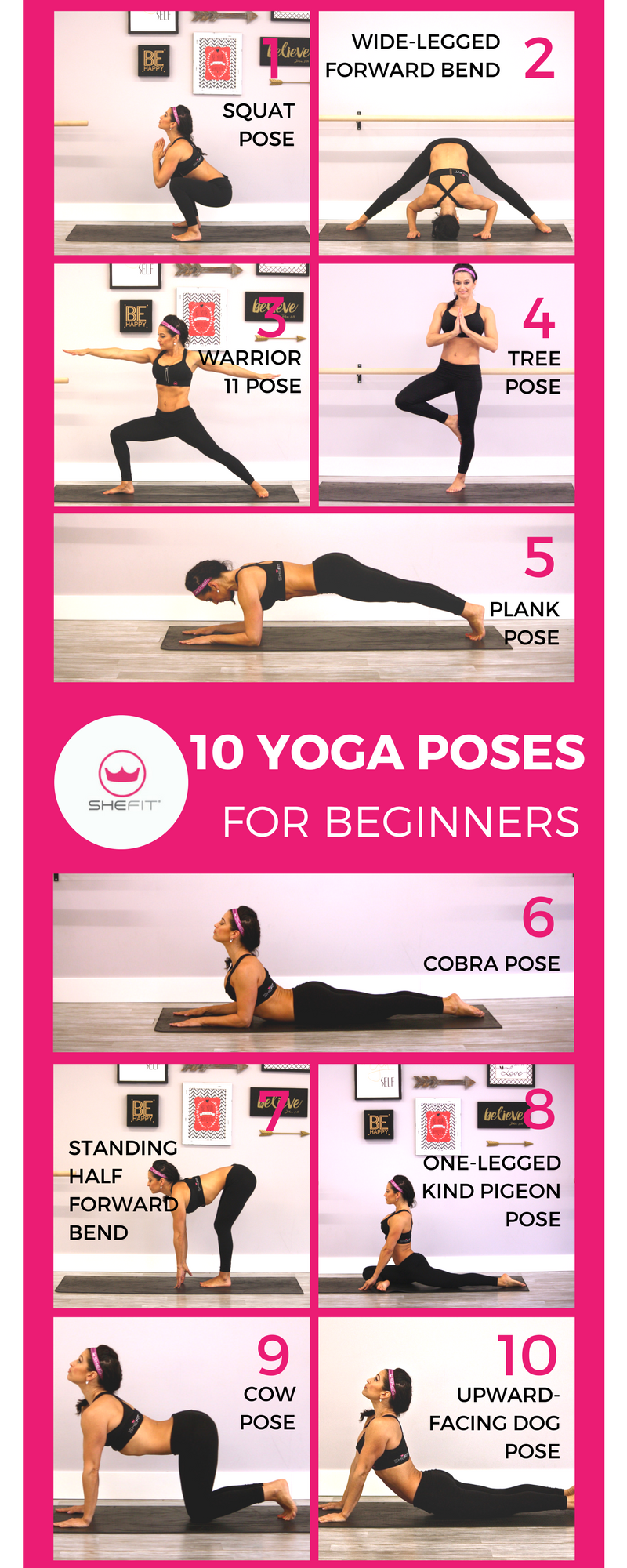 Yoga can actually lower the levels of stress hormones in your body which then increases insulin sensitivity. This signals your body to burn food as fuel rather than store it as fat thus leading to weight loss. Click to learn 10 yoga poses for beginners you can do at home. | Inspiration | Flexibility Routine | Weight loss Lifestyles Benefits | Toning + Stress