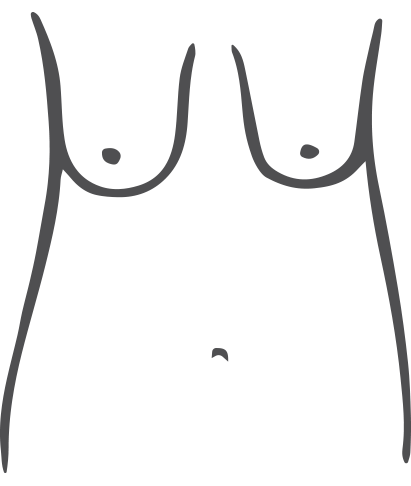 Breast hangs low with nipples pointing downwards.