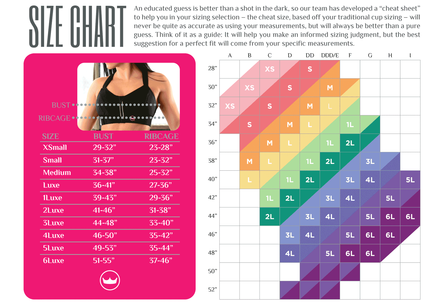 Shefit Custom Adjustable Sports Bra Size Chart