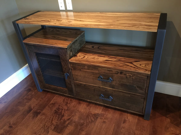 Tiered Media Console TerraSteel Custom Furniture Design - Made in Bend, Oregon