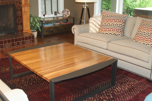 Zebrawood Coffee Table TerraSteel Custom Furniture Design - Made in Bend, Oregon