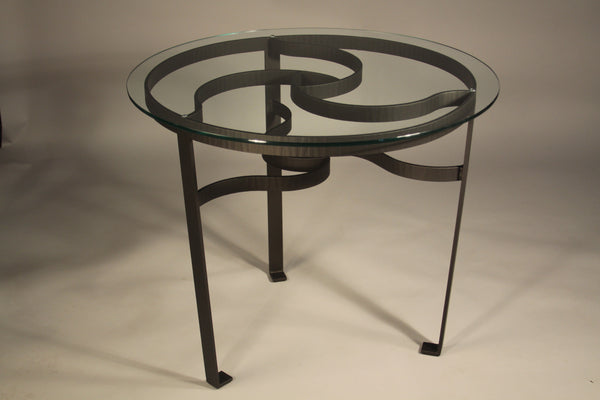 Celtic Knot Glass Top Table - TerraSteel Furniture Design, Bend, OR