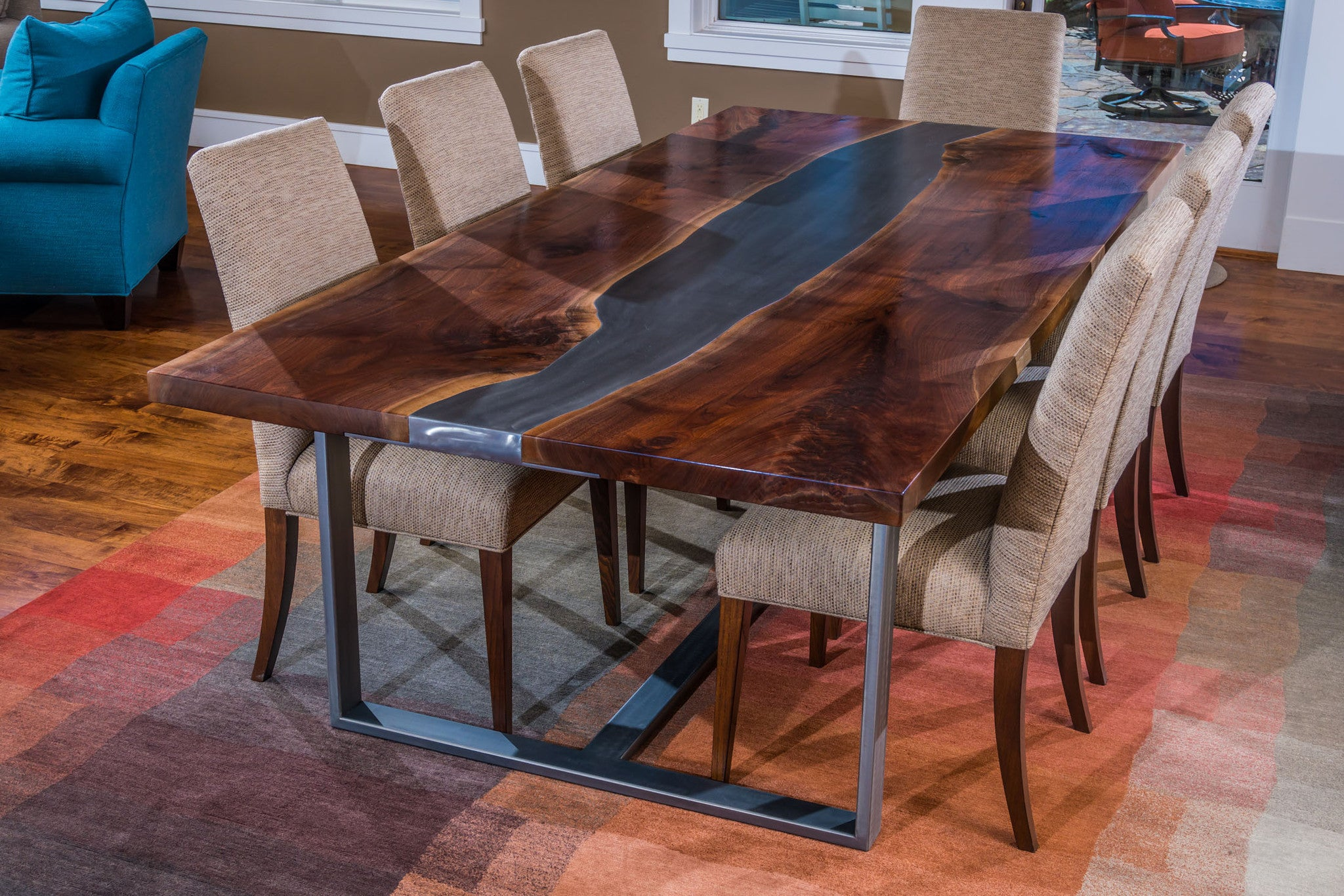 Black Walnut Quot Living River Quot Table Terrasteel Furniture