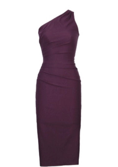 Stop Staring! Ava One Shoulder Dress in Eggplant Purple Save Help Settings