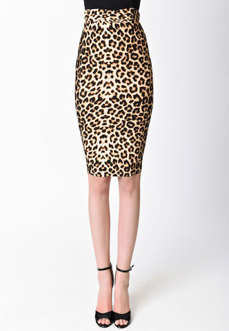 Unique Vintage Katharine Leopard Skirt