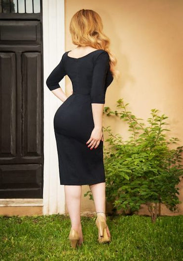 Vintage Diva Scarlett Pencil Dress in Midnight Blue