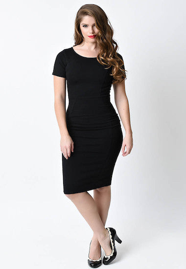 Unique Vintage Black Mod Wiggle Dress