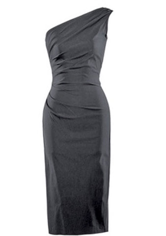 Stop Staring! Ava One Shoulder Dress in Black