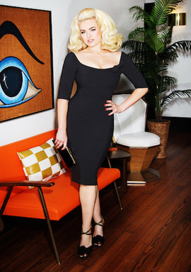 Glamour Bunny Brigitte Pencil Dress in Black