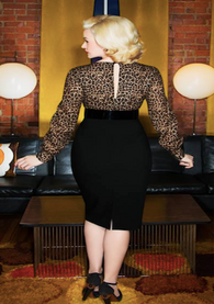 Glamour Bunny Margot Pencil Dress in Leopard & Black