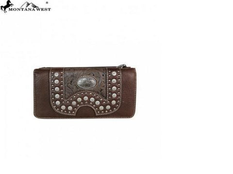 CONCHO COLLECTION SECRETARY STYLE WALLET - COFFEE