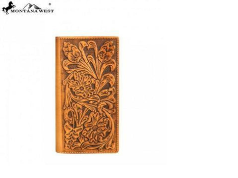GENUINE TOOLED LEATHER PHONE CHARGING MEN'S WALLET - BROWN