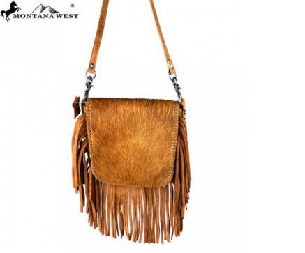 100% REAL LEATHER HAIR-ON CROSSBODY-BROWN