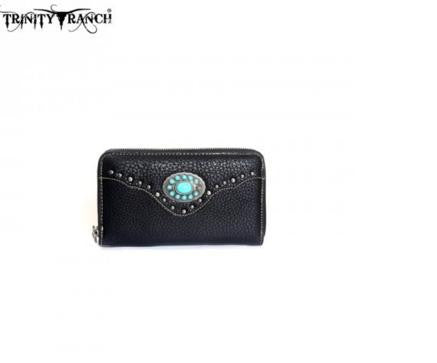 TRINITY RANCH CONCHO DESIGN WALLET-BLACK