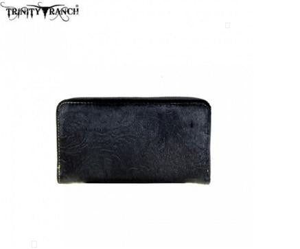 TRINITY RANCH HAIR-ON LEATHER COLLECTION WALLET-BLACK