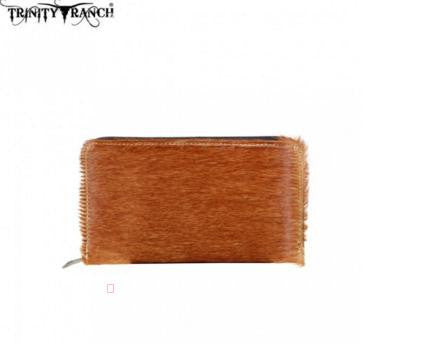 TRINITY RANCH HAIR-ON LEATHER COLLECTION WALLET-BROWN