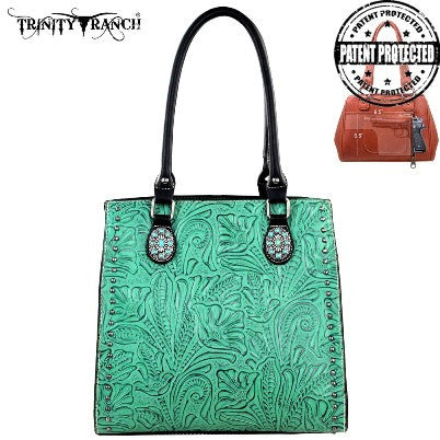 TRINITY RANCH TOOLED HANDBAG -BLACK/TURQUIOSE