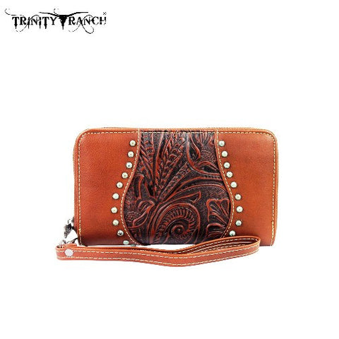 TRINITY RANCH TOOLED WALLET - BROWN (FMTR23-W003BR)