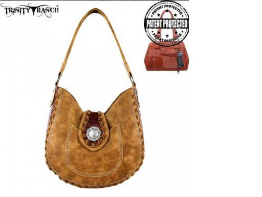 TRINITY RANCH CONCEALED COLLECTION HOBO BAG-TAN