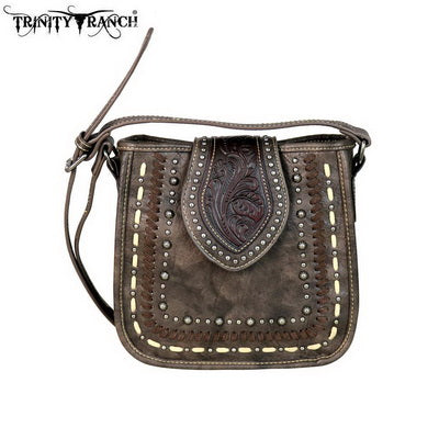 TRINITY RANCH TOOLED LEATHER CROSSBODY BAG