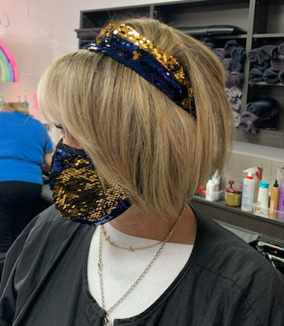 Blue Gold Sequin Fashion Mask