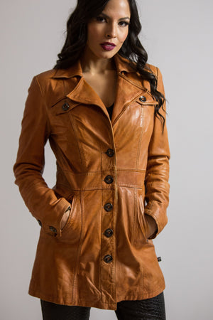 Are You Experienced Vintage Caramel Short Leather Trench Coat