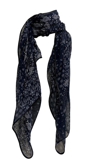 Patchwork Print Scarf with Satin Trim in Black & White