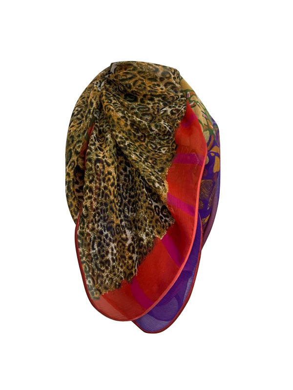 Bright Leopard Print Scarf with Satin Trim