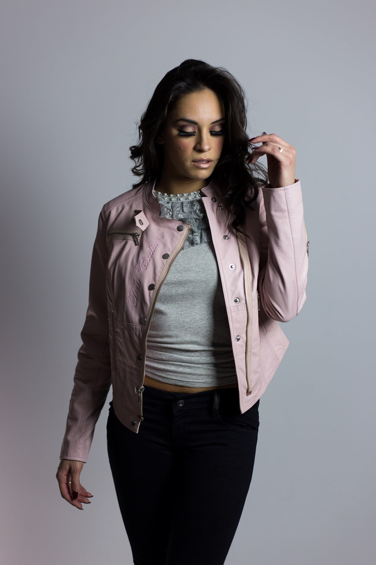 Cotton Candy Corset Crop Leather Jacket